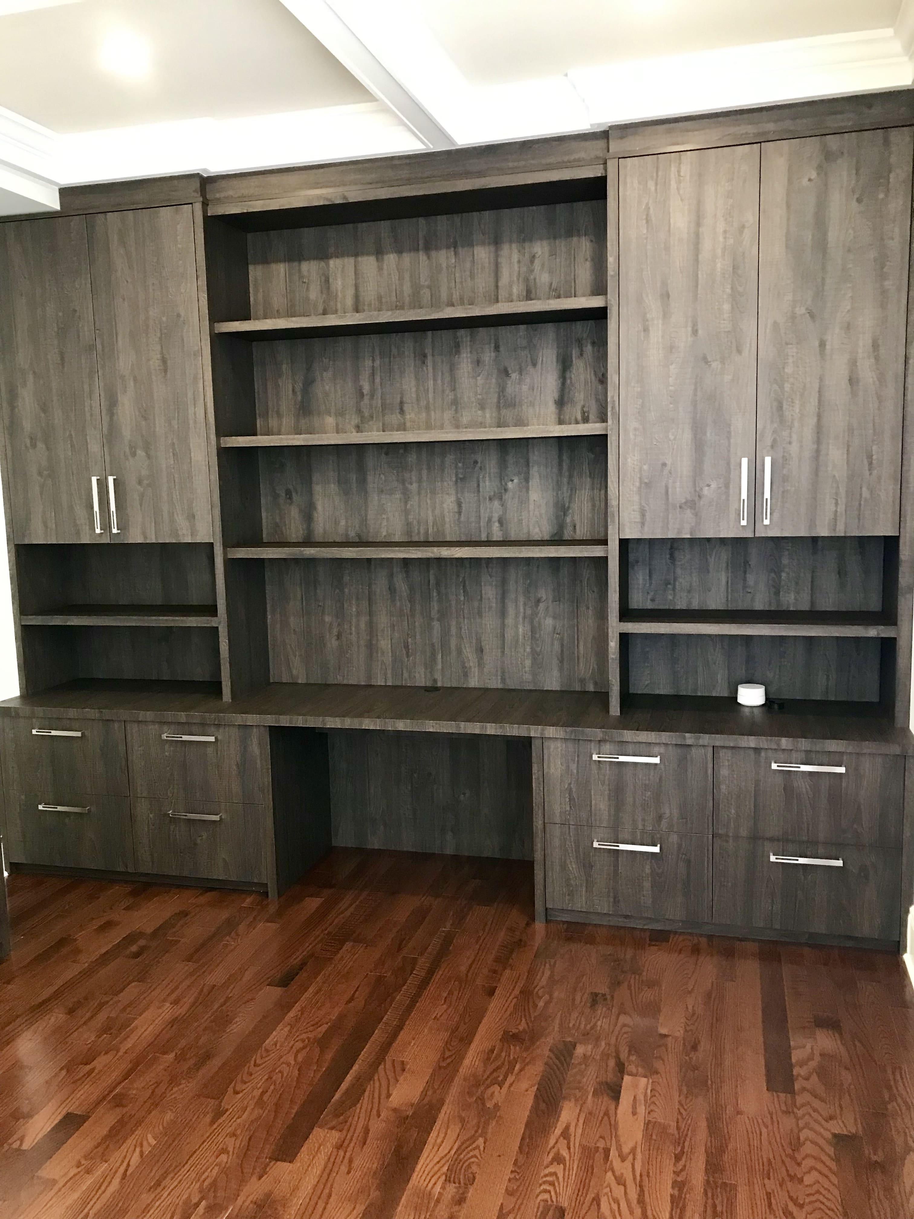 dark wood modern office