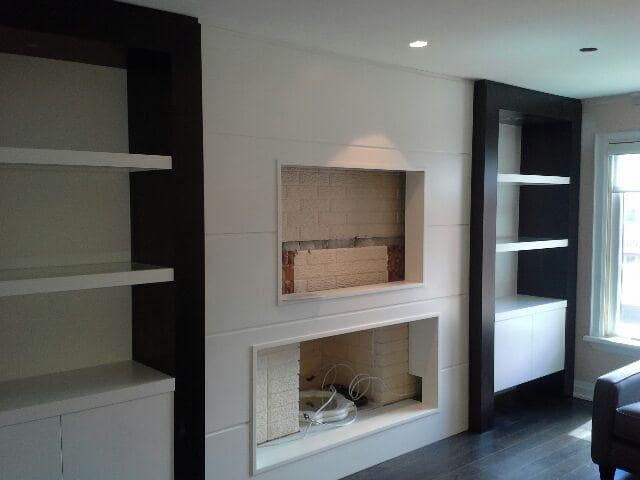 white and black fireplace unit