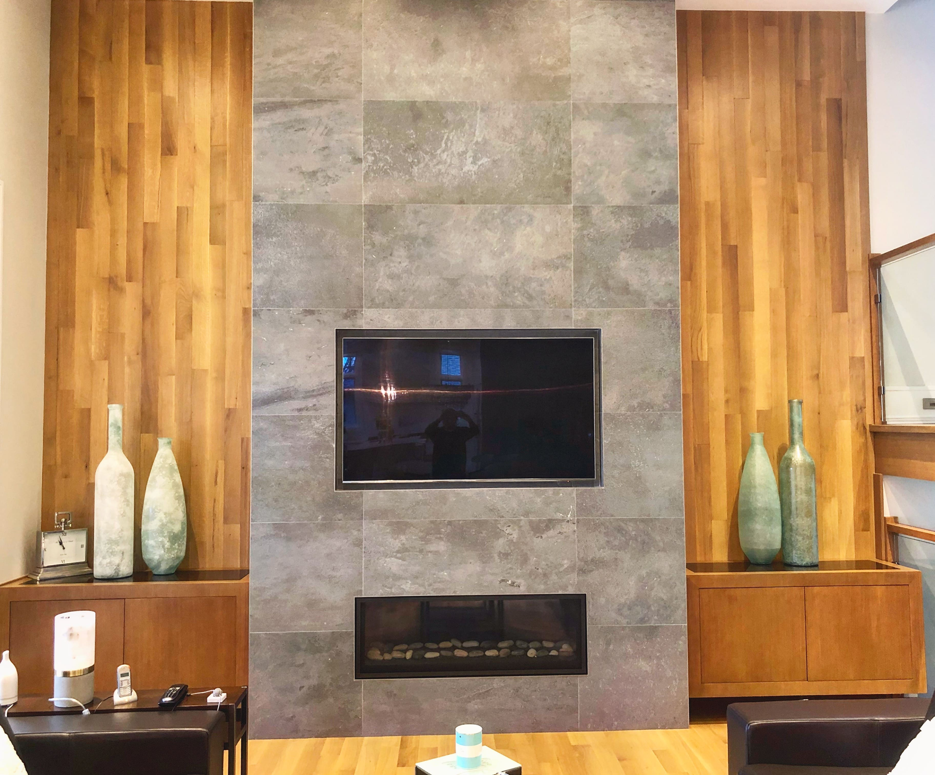 light wood modern fireplace unit