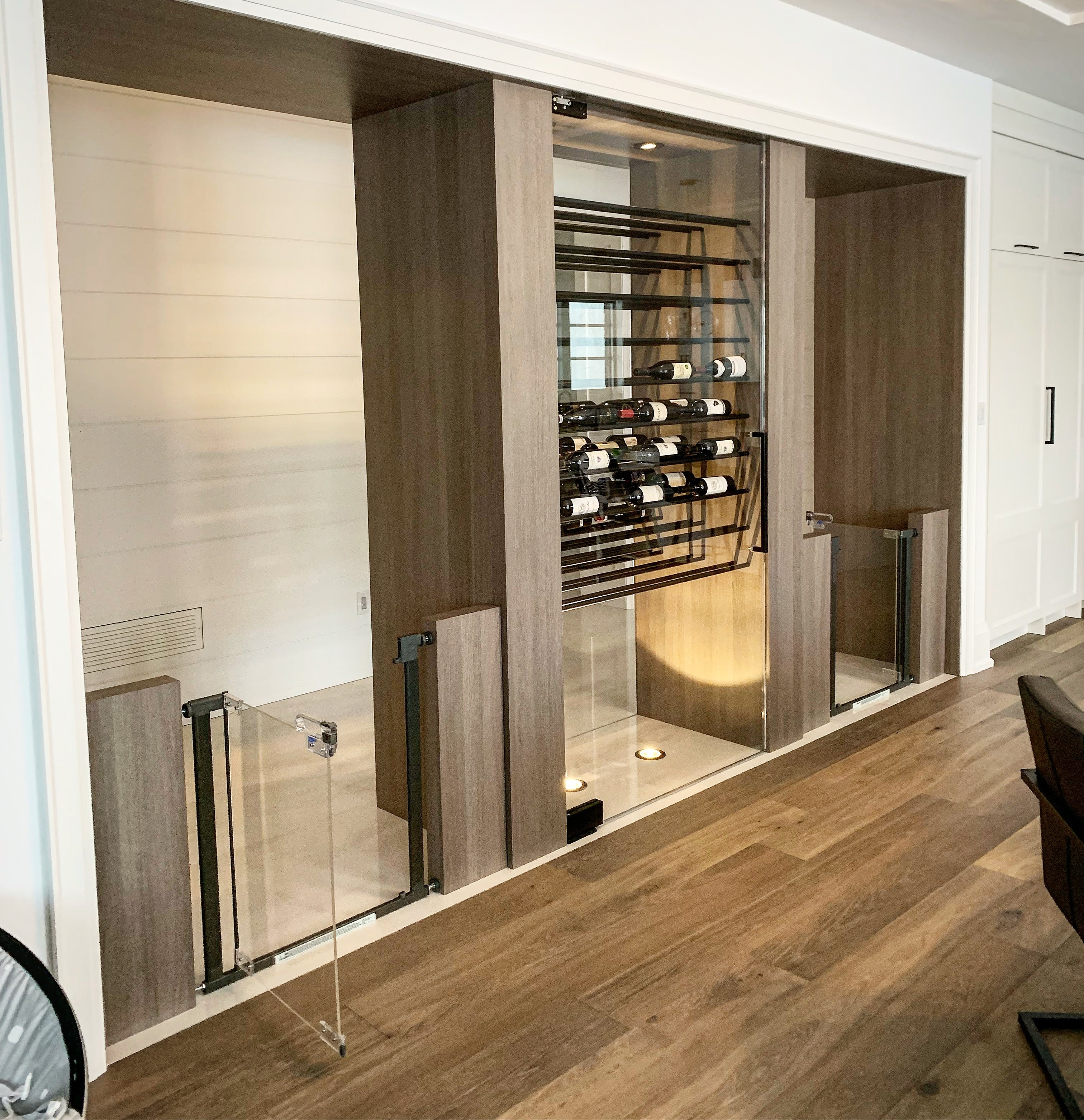 wine chiller with glass fronts and gates