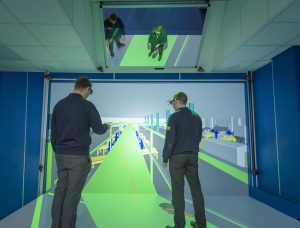 Virtalis ActiveWall at Siemens UK with a projected wall and floor