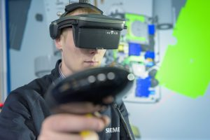 The Virtalis ActiveWall at Siemens UK with a projected wall and floor combined with optical tracking for group and collaborative activities and a Head Mounted Display-based Virtalis ActiveSpace for additional levels of immersion