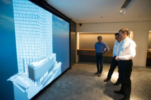 GDP's VR suite features a Virtalis ActiveWall with a 4.4 m wide by 2.3 m high screen to create an immersive experience in a virtual world.