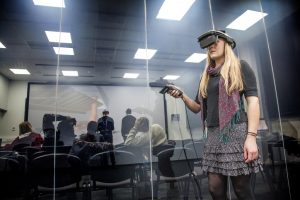 The VR Auditorium is divided from the HMD Suite by an electrostatic glass wall that can be made opaque at the flick of a button.