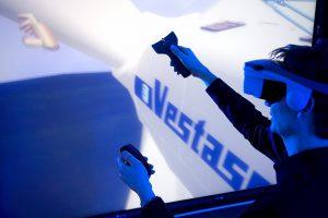 User immersed in a VR model at Vestas