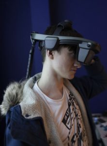 Harry Wren – 2nd Year student currently studying Game Development at Trafford College uses a Virtalis ActiveSpace system incorporating an nVis HMD