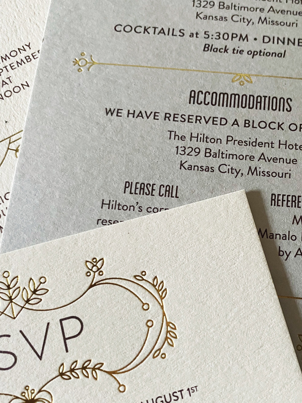 Foil stamped and digitally printed wedding invitations