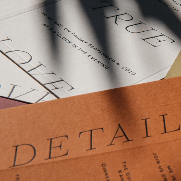 Public Print custom letterpress printed and designed wedding invitations
