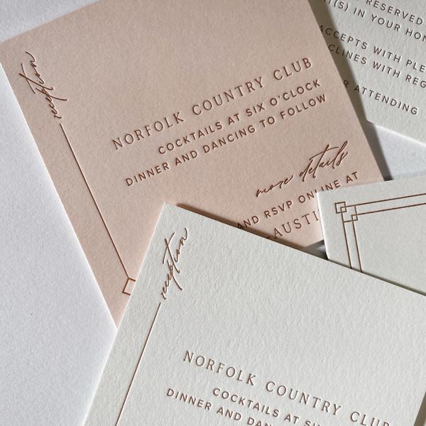 Letterpress printed wedding invitations