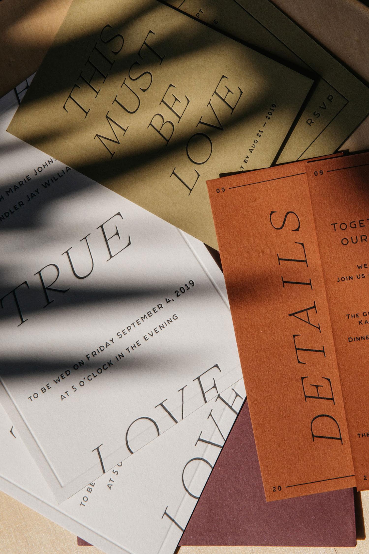Custom Letterpress Printed Wedding Invitations