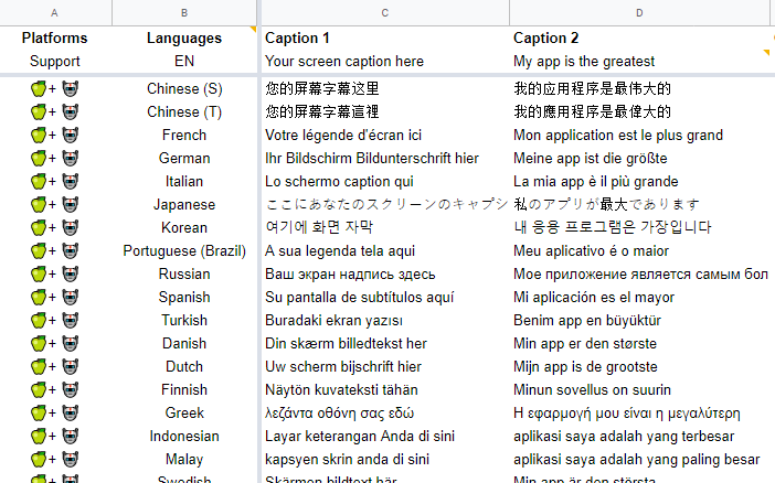 App Screenshot Text Caption Translation Google Sheet