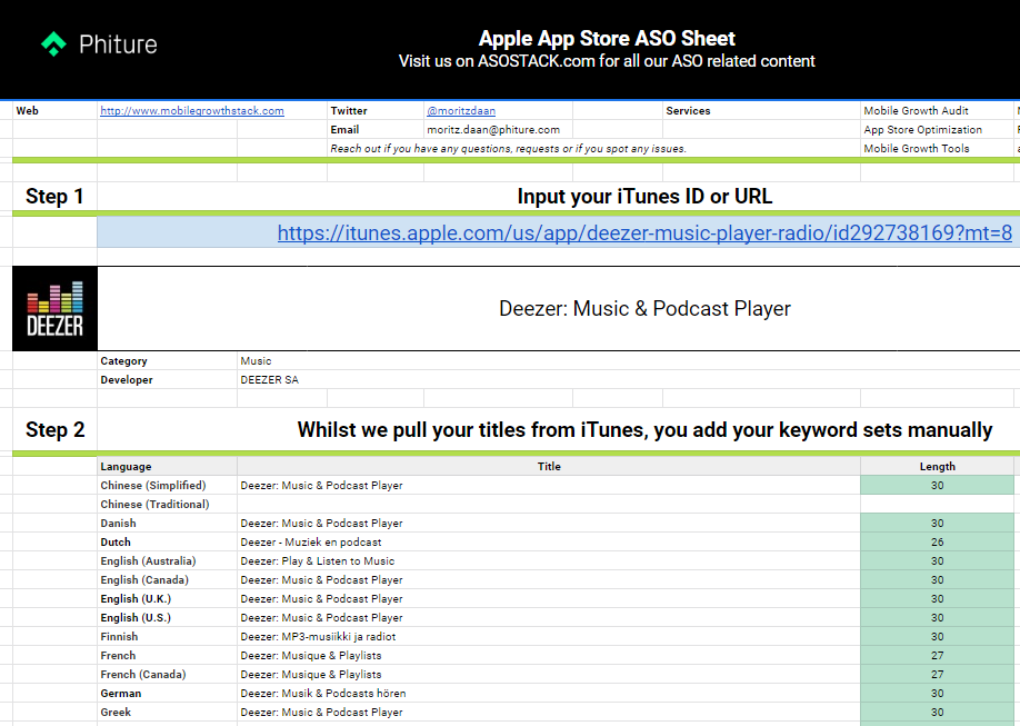 App Store Keyword Tracker for Google Sheets
