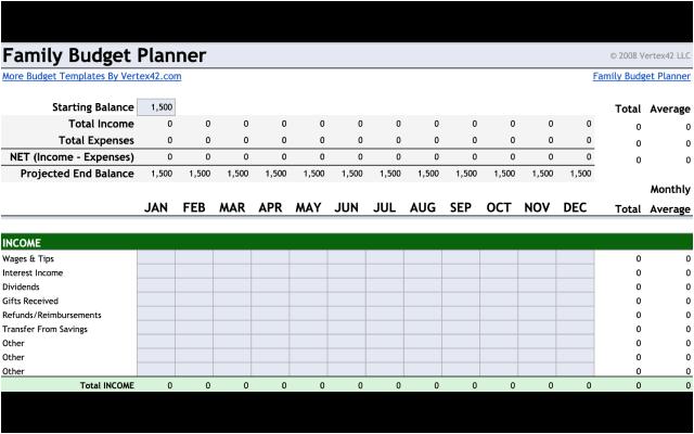 Family Budget Planner Google Sheet