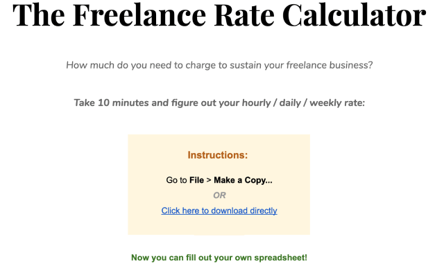 The Freelance Rate Calculator Google Sheet
