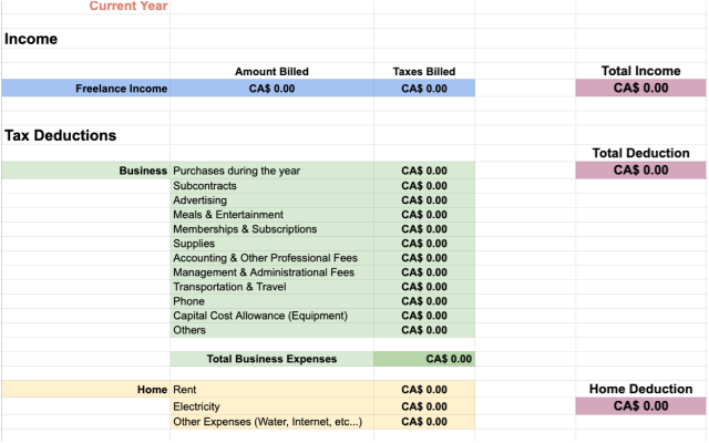 Freelancers Tax Deductions Template Google Sheet