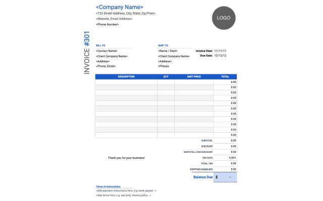 Services Rendered Invoice Google Sheet
