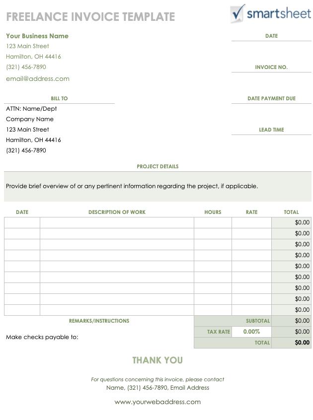 Freelance Invoice Template Google Sheet