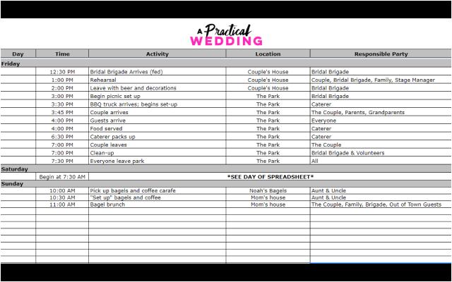 Wedding Weekend Spreadsheet Google Sheet