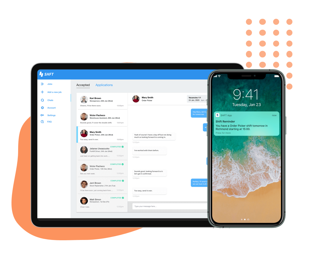 shft app shown with push notification and chat feature