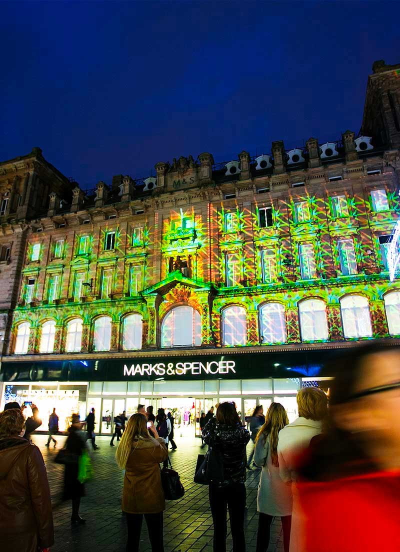 Outdoor Projection Mapping Installation in Liverpool City Centre