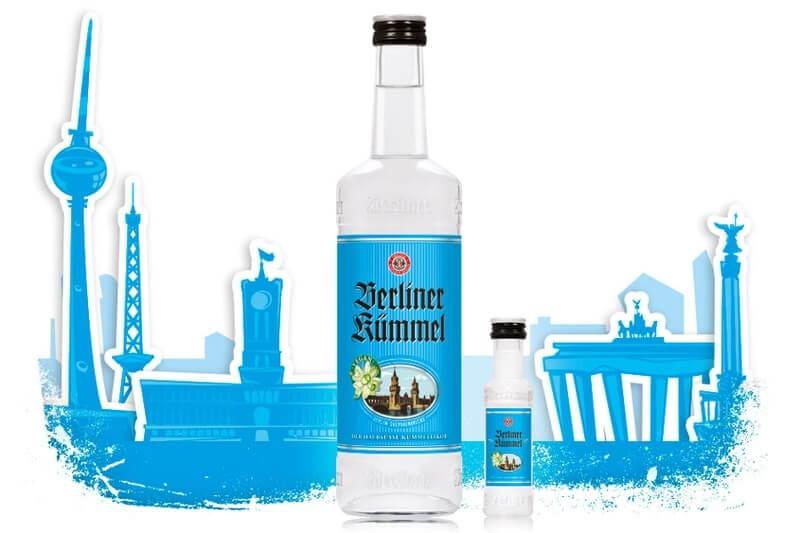 Berliner Kümmel Flaschen Sortiment mit Berliner Stadtsilhouette