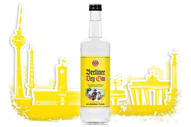 Berliner Dry Gin Flasche mit Berliner Stadtsilhouette