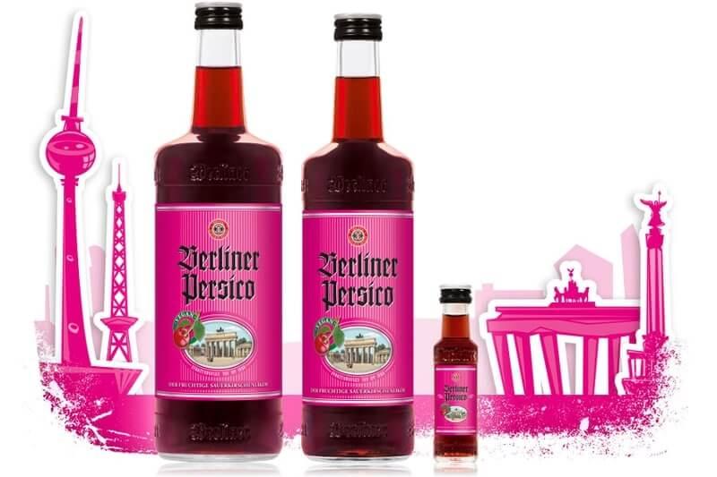 Berliner Persico Flaschen Sortiment mit Berliner Stadtsilhouette