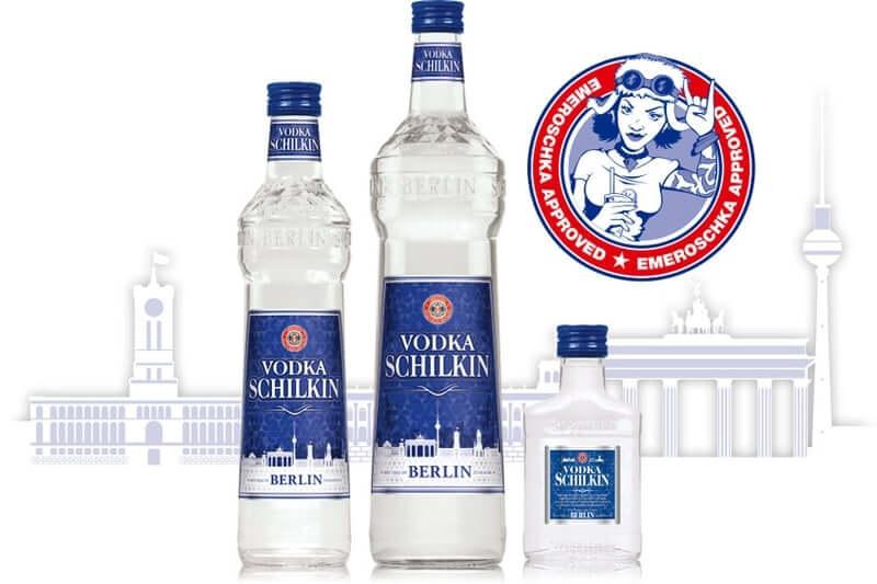 Vodka SCHILKIN Flaschen Sortiment mit Emeroschka Stempel und Berliner Stadtsilhouette