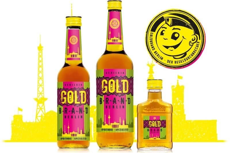 Goldbrand Berlin Flaschen Sortiment mit Comic Stempel und Berliner Stadtsilhouette