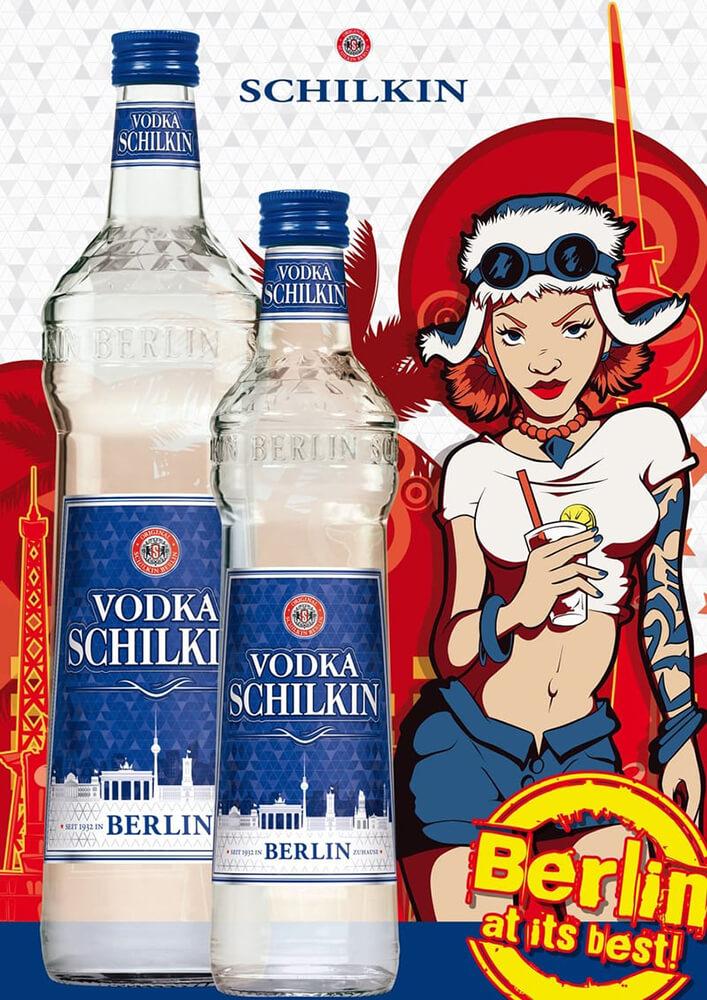 Anzeige: Werbung für Sorte Vodka SCHILKIN mit Flaschen Sortiment und Emeroschka