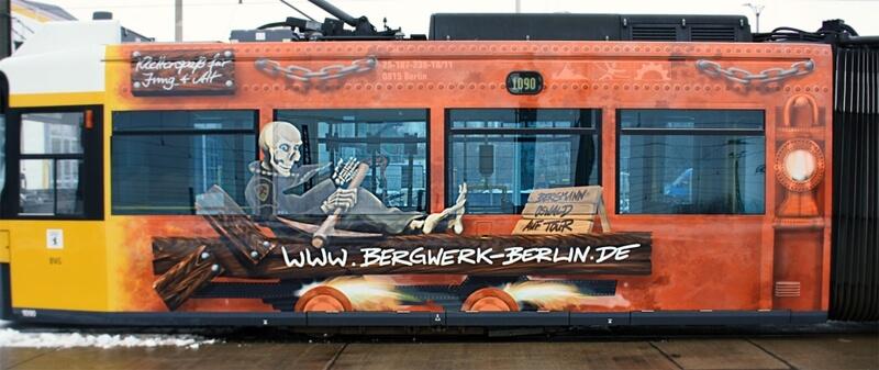 Bergwerk Berlin Straßenbahn Werbung