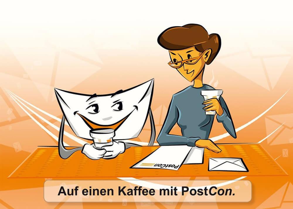 Postcon: Postkarte mit Briefumschlag und Frau