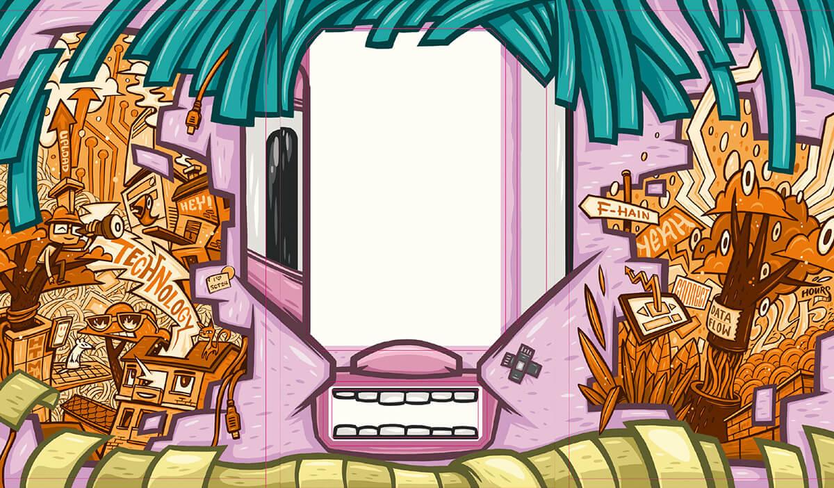Immobilienscout24 Graffiti Illustration des technikausspuckenden Kabel- und Ersatzteilmonsters