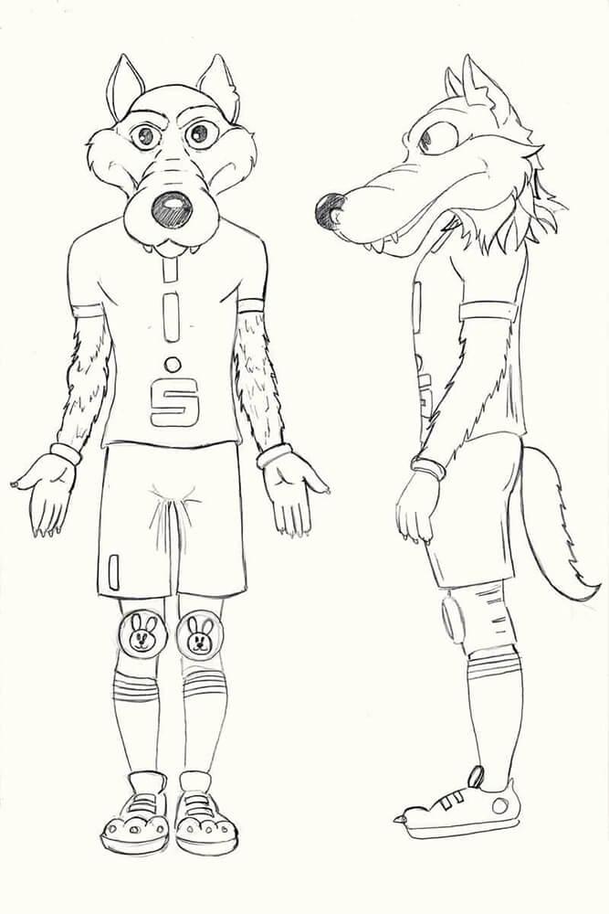 SV Lindow Wolf Maskottchen Skizze