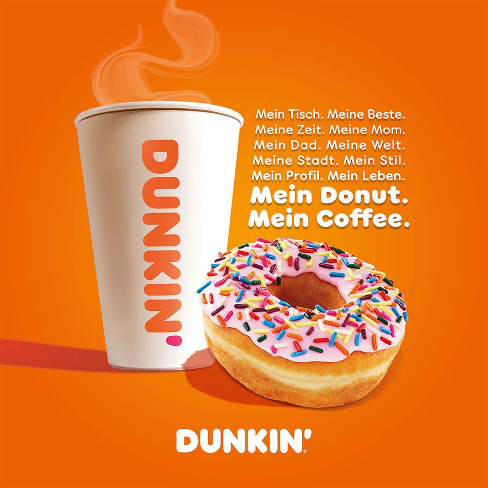 DUNKIN' Donut mit Becher und Spruch