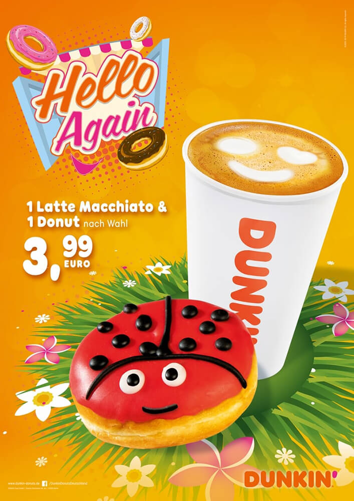 DUNKIN' Plakat Werbung: Hello Again