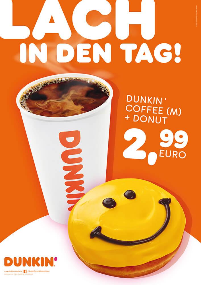 DUNKIN' Plakat Werbung für Coffee und Donut
