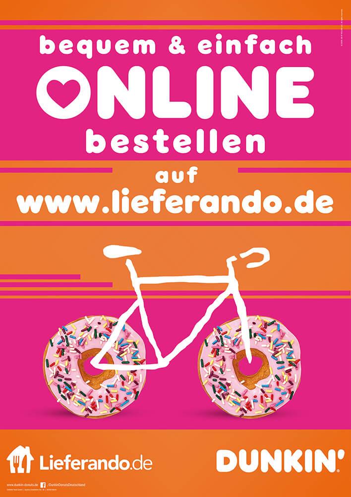 DUNKIN' Plakat Werbung: Online Bestellung