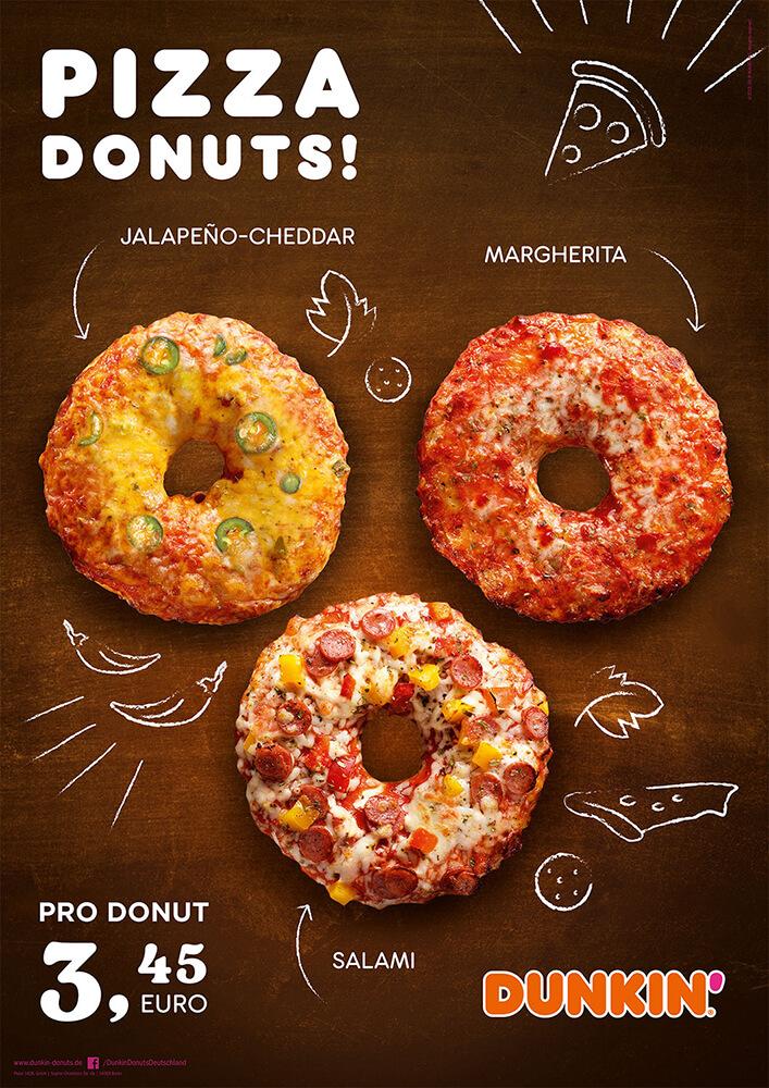 DUNKIN' Plakat Werbung für Pizza Donuts