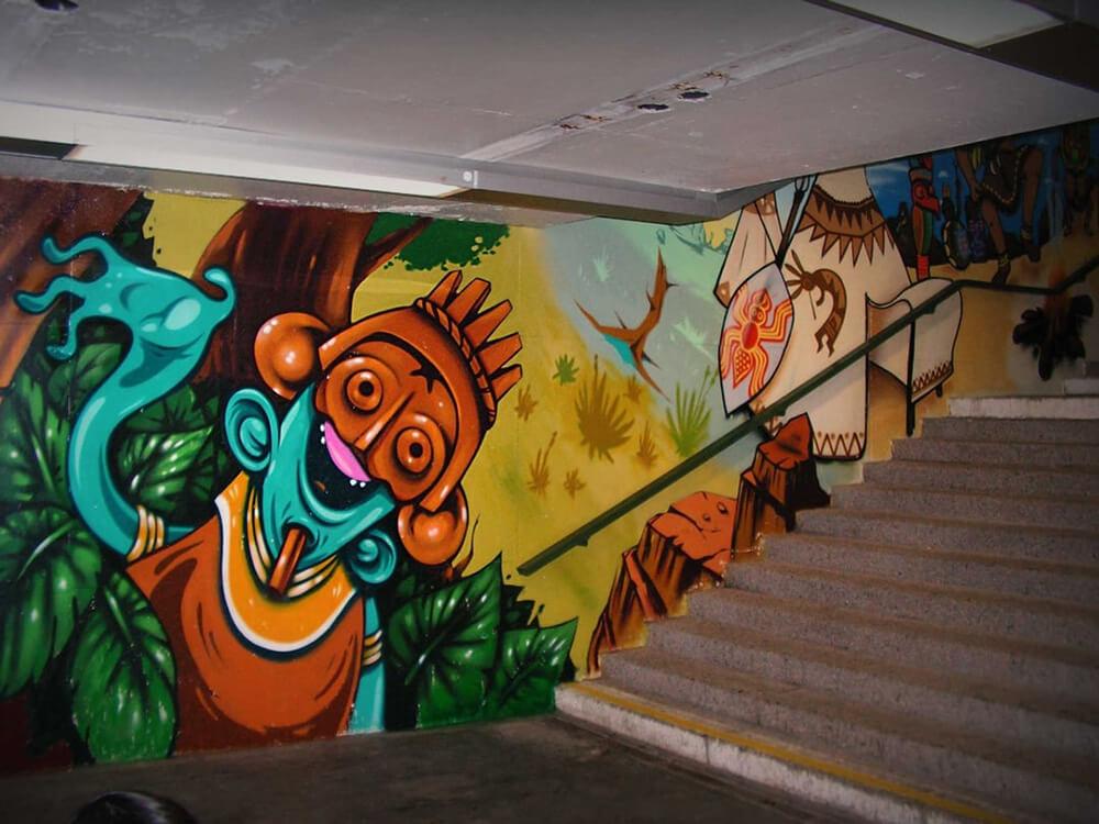 S-Bahn Berlin Mehrower Allee Graffiti-Art mit Dschungel