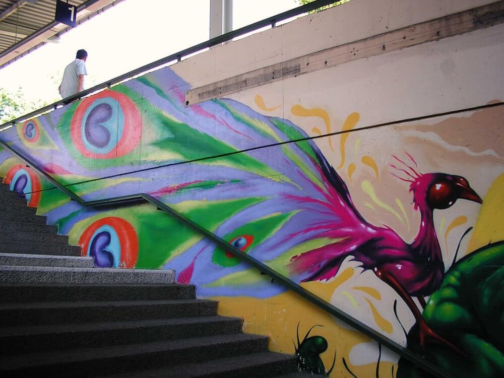 S-Bahn Berlin Mehrower Allee Graffiti-Art mit Pfau