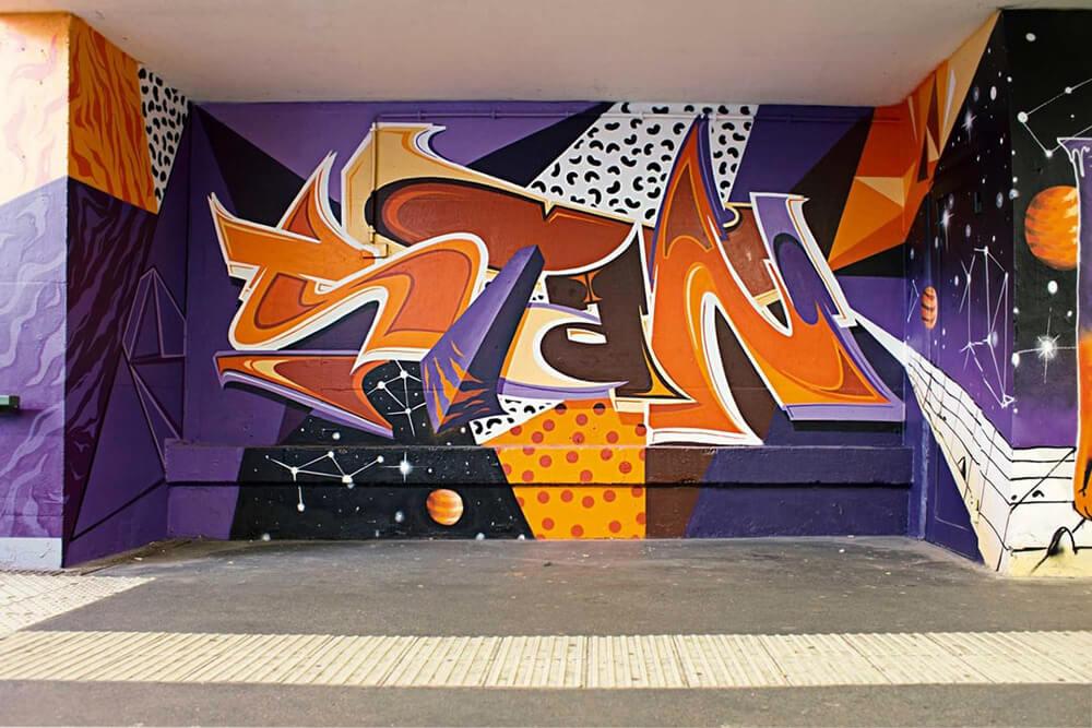 S-Bahn Berlin Mehrower Allee Graffiti-Art mit Typografie
