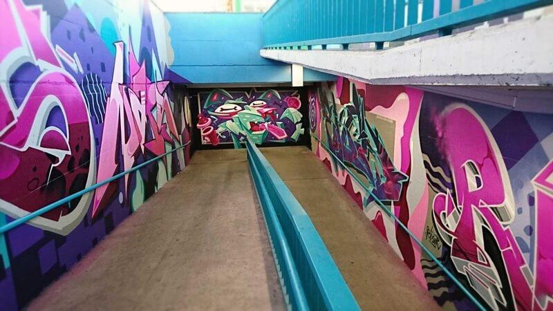 S-Bahn Berlin Raoul-Wallenberg-Straße Graffiti-Art am Aufgang