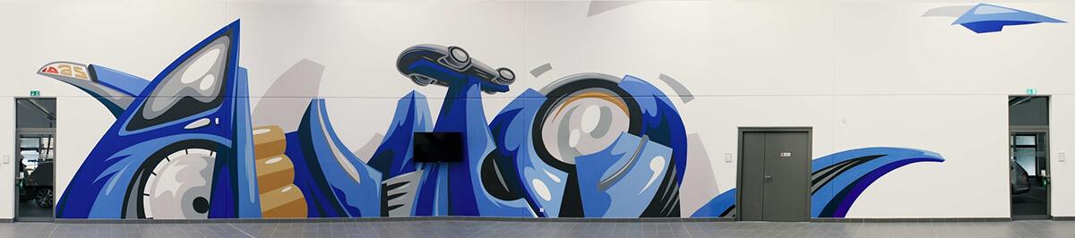 Volkswagen Qualifizierungszentren Graffiti Innengestaltung
