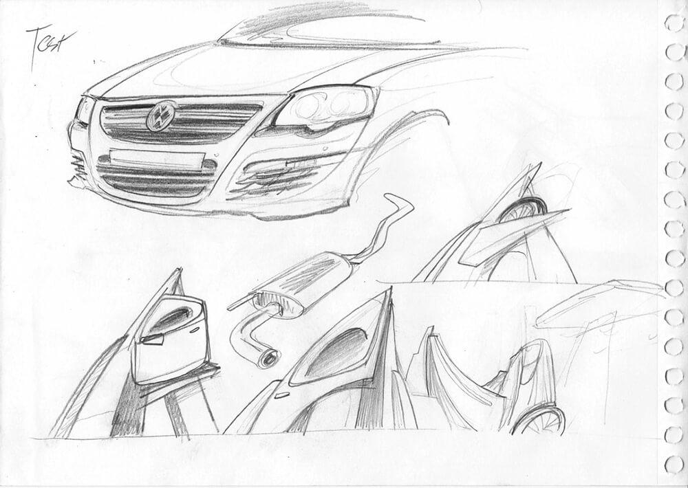 Volkswagen Skizzen für Wandgestaltung