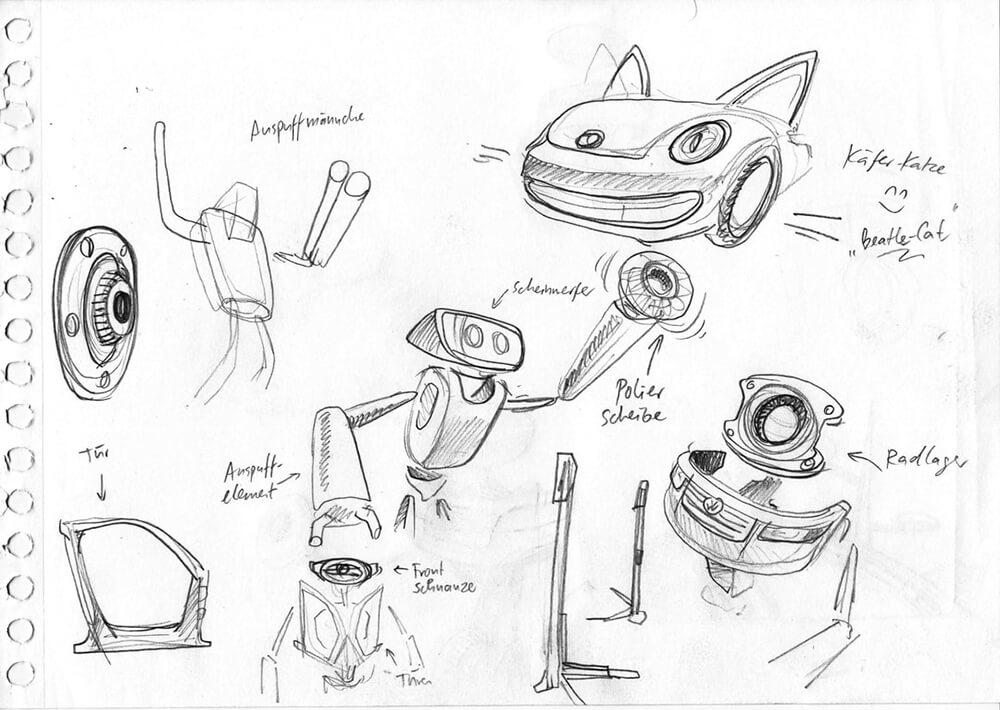 Volkswagen Auto Zeichnung Studie