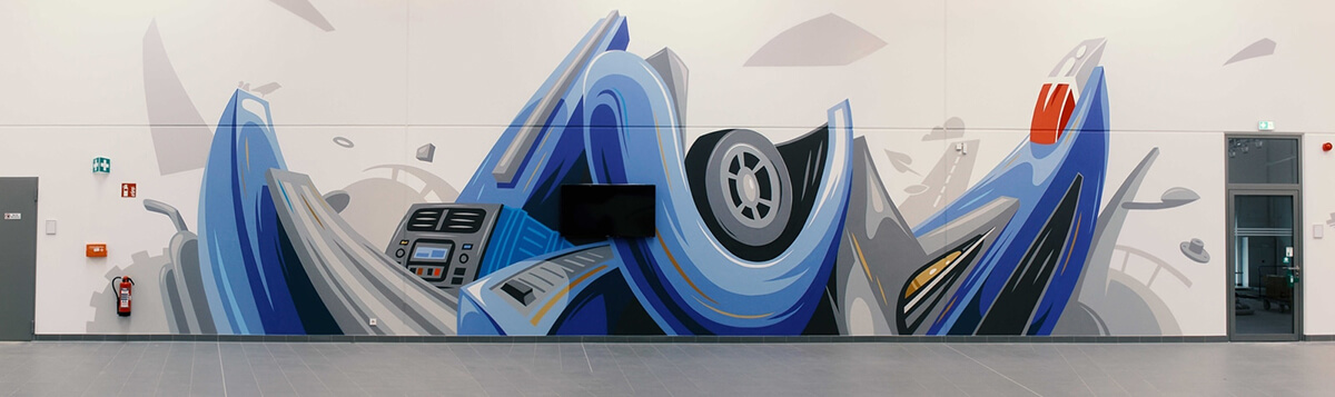 Volkswagen bunte Graffiti Gestaltung