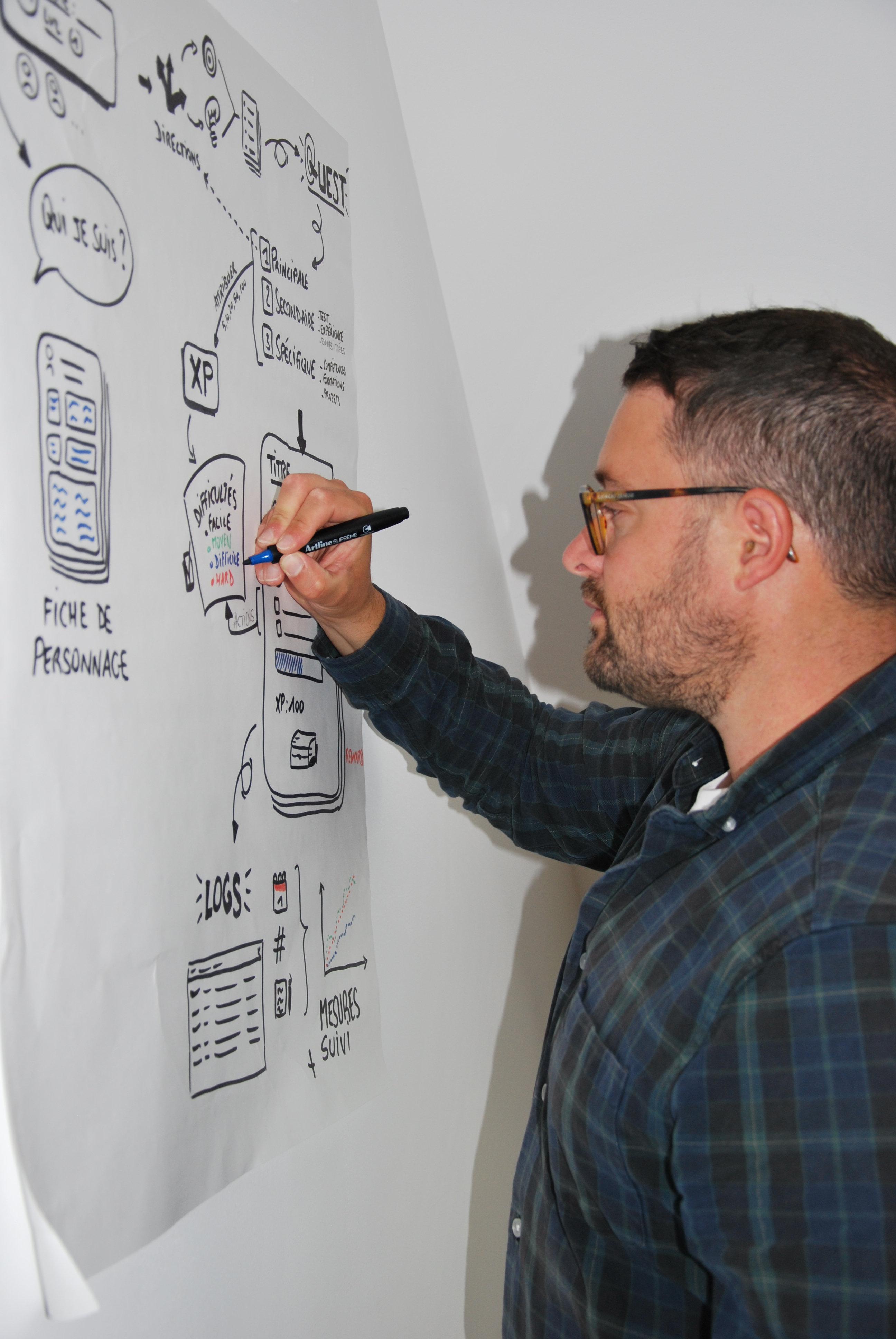 Photo de julien Enjalbert en train de réaliser un Sketchnote