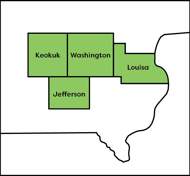 A map of southeast Iowa in the United States that highlights Keokuk, Washington, Louisa, and Jefferson counties, where CommUnity Mobile Crisis provides service.
