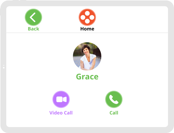 Ohana App calling feature with an option to video call or call your contact.